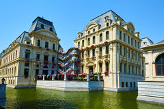 The European architecture of waterside town Stock Images
