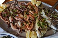 European area. Dish of Mediterranean seafood. Delicius diner. European area. Montenegro country. Dish of Mediterranean seafood. Delicius diner Stock Photo