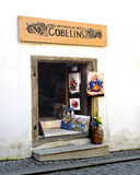 European Art Shop. An image of art shop representative of architecture in the medieval town of Cesky Krumlov, Czech Republic Stock Photo