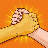 European and Asian hand while handshake and togetherness Stock Images