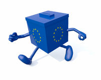 European ballot box with arms and legs that run. 3d illustration Royalty Free Stock Photos