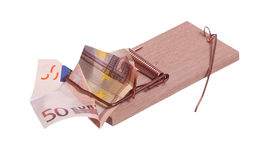 European bank note in mouse trap Stock Photo