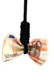 European bank note on rope Royalty Free Stock Images