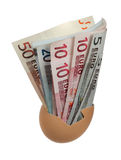 European bank notes in eggshell Stock Photography