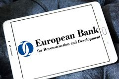 European Bank for Reconstruction and Development logo. Logo of European Bank for Reconstruction and Development , EBRD, on samsung tablet royalty free stock image