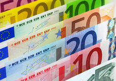 Euro banknotes. European banking and currency financial concept: macro view of full set of Euro banknotes - 500, 200, 100, 50, 20, 10 and 5 Euro Stock Photos