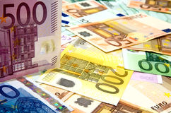 European banknotes. Pile of different denomination Euro banknotes Stock Image