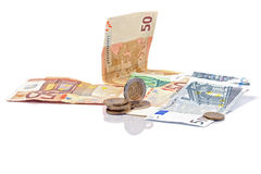 European banknotes and coins Royalty Free Stock Photo