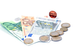 European banknotes and coins Stock Image