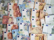 European banknotes of different denominations, background and texture. Approach, european, banknotes, background, texture, bills, different, denominations royalty free stock photo
