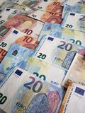 European banknotes of different denominations, background and texture. Approach, european, banknotes, background, texture, bills, different, denominations stock photos
