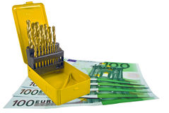 European banknotes and Drill Royalty Free Stock Images