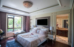 European bedroom in a mansion Stock Photo