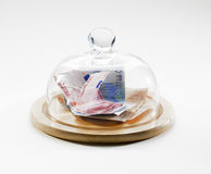 European bills saved under glass dome Stock Photos