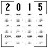 European black and white 2015 year calendar. Isolated on white background. vector illustration Royalty Free Stock Images