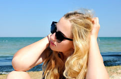 European blondie girl near the sea Royalty Free Stock Images