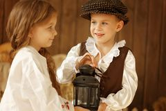 European boy and girl together. Love story Stock Image