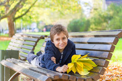 European boy in a park Stock Photo