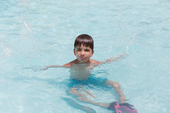 European boy in the pool at the water Park Royalty Free Stock Photos