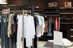 European brand new clothes shop Royalty Free Stock Image