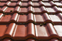 European Brand New Orange Clay Roof Tiles Sunshine Outside Dayti Royalty Free Stock Photography
