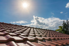 European Brand New Orange Clay Roof Tiles Sunshine Outside Dayti Stock Photo
