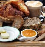 European breakfast – coffee, croissants, toasts, butter, jam Royalty Free Stock Image