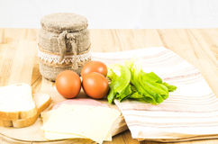 European breakfest wirh eggs Royalty Free Stock Images