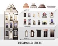 European Building Elements Set Stock Images
