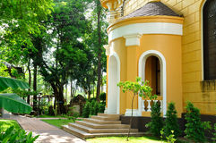 European building style with green garden in Thailand. Stock Photo