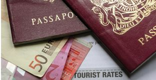 European Business travel passports Stock Photos