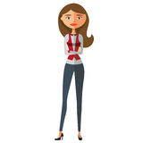 European business woman character. Secretary. Teacher. Royalty Free Stock Image