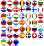 European buttoned-flags set Royalty Free Stock Photography