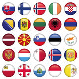 European Buttons Round Flags. Zip includes 300 dpi JPG, Illustrator CS, EPS10. Vector with transparency Stock Photography