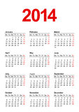 European Calendar 2014 in vector Royalty Free Stock Images