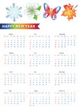 European calendar with Colored symbols of new year. Happy New year 2015 celebration European calendar.Colored symbols of new year. Snowflake,flower,butterfly vector illustration