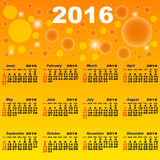 European calendar of 2016. Royalty Free Stock Photo