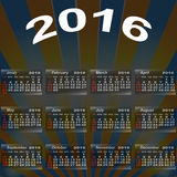 European calendar of 2016. Stock Image