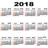 European calendar of 2018. Royalty Free Stock Photo