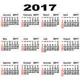 European calendar of 2017. Stock Image