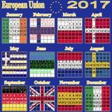 European calendar of 2017. Stock Images