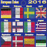 European calendar of 2016. Royalty Free Stock Images