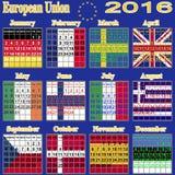 European calendar of 2016. royalty free illustration