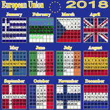 European calendar of 2018. Stock Image