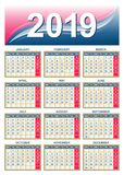 European calendar grid 2019 in vector Stock Photography