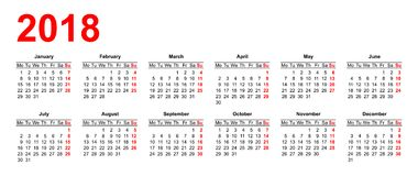 European calendar grid in vector Royalty Free Stock Photo