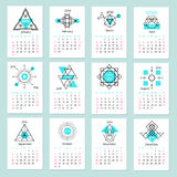European calendar grid for 2016 year with abstract. Geometric patterns. Vector illustration Royalty Free Stock Image