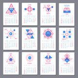 European calendar grid for 2016 year with abstract. Geometric patterns. Vector illustration vector illustration