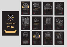 European calendar grid for 2016 year with abstract. Houses. Vector illustration Royalty Free Stock Images