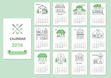 European calendar grid for 2016 year with abstract. Houses. Vector illustration Stock Photo